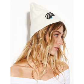 White Eye Pattern Applique Knit Beanie Hat