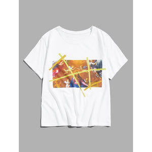 Men Oil Painting Print Tee