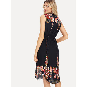 Tribal Print Curved Hem Dress
