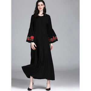 Floral Embroidered Flare Sleeve Longline Dress
