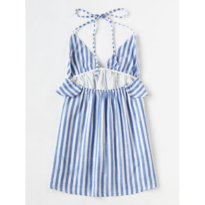 Halter Neck Vertical Striped Frill Trim Dress