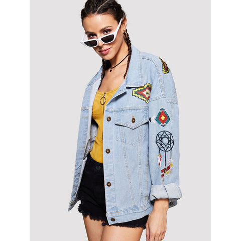 Cartoon Embroidered Denim Jacket