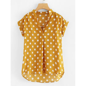Polka Dot Curved Hem Blouse