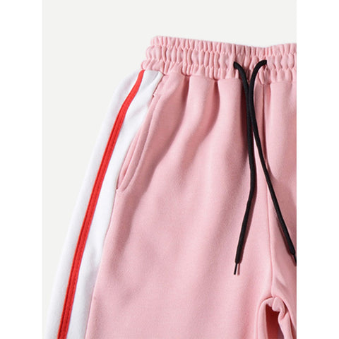 Men Tape Detail Drawstring Pants