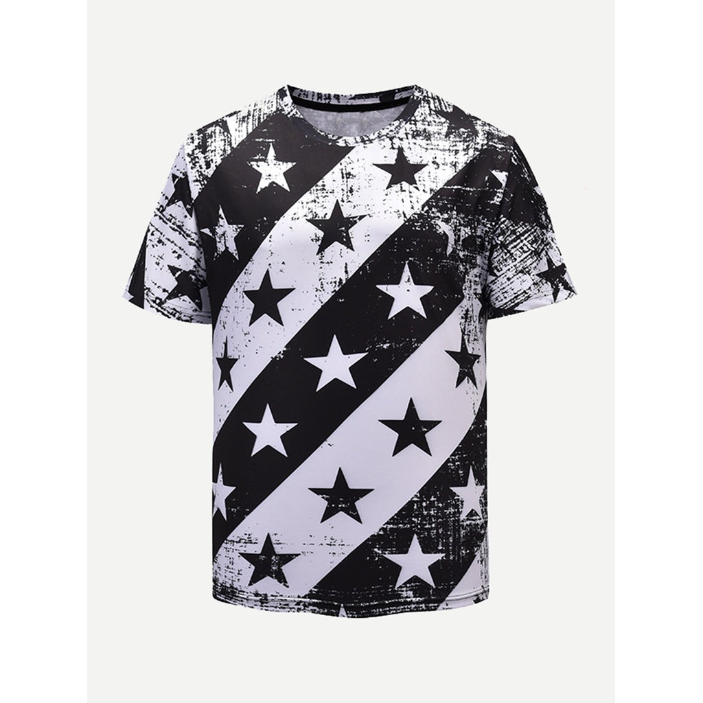 Men Star Print Striped Tee