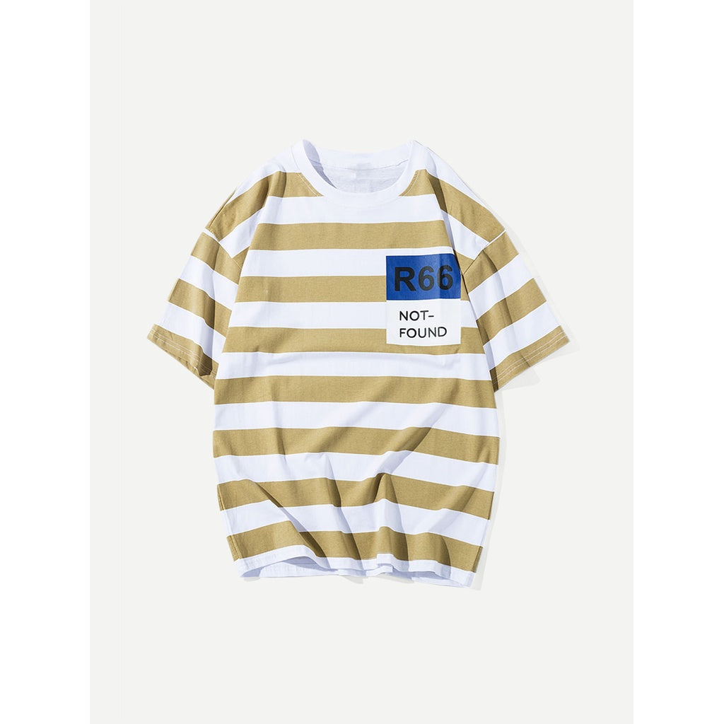 Men Letter Print Striped Tee