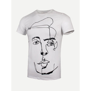 Men Abstract Figure Print Tee