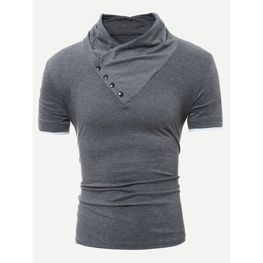 Men Button Decoration Plain Tee
