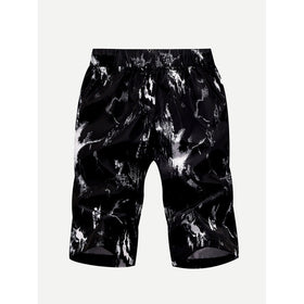 Men Brush Strokes Print Drawstring Shorts
