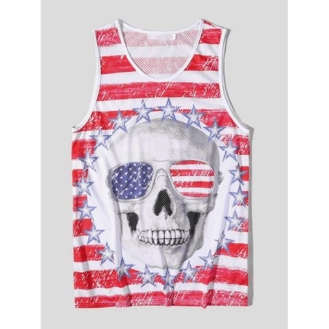 Men Striped And Skull Print Vest