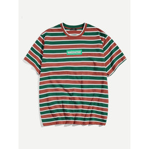 Men Letter and Striped Print Tee