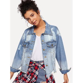 Ripped Asymmetrical Hem Denim Jacket