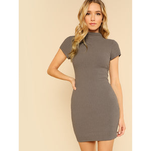 Mock Neck Rib Knit Dress