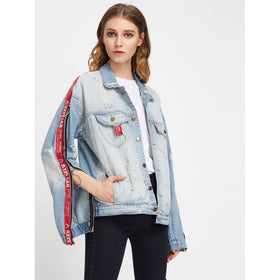 O-Ring Letter Tape Detail Zipper Ripped Denim Jacket