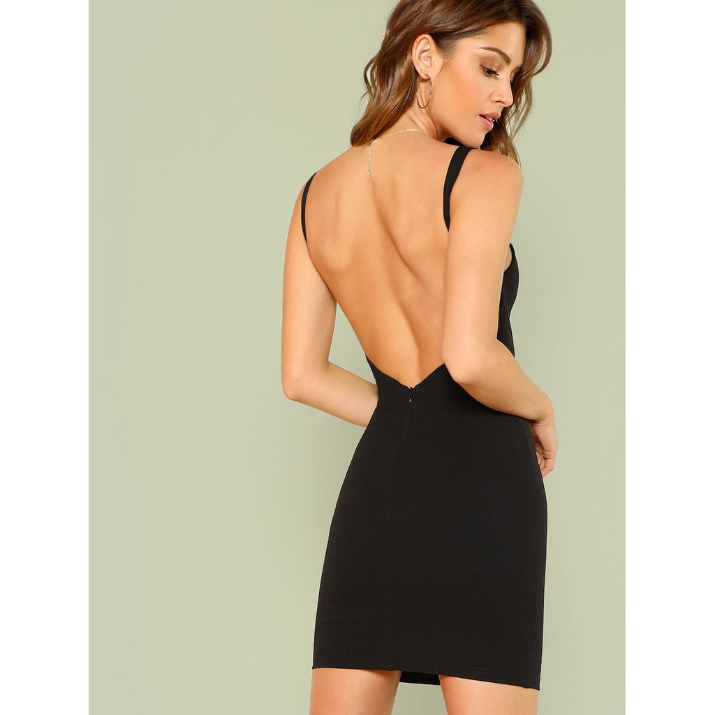 Open Back Solid Form Fitting Dress