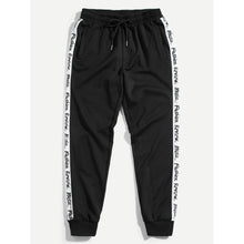 Men Letter Tape Side Sweatpants