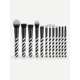 Striped Handle Makeup Brush 12pcs