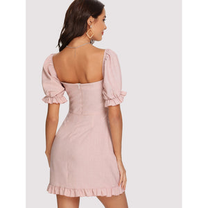 Knot Front Ruffle Trim Open Back Dress