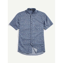 Men Pocket Front Calico Shirt