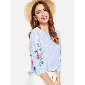 Flower Print Lantern Sleeve Striped Top