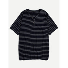 Men Button Front Striped Tee
