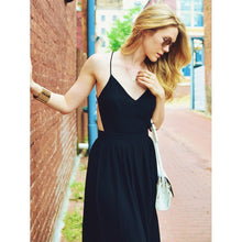 V-neck Cami Straps Backless Maxi Dress