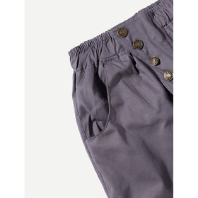 Men Solid Elastic Waist Pants