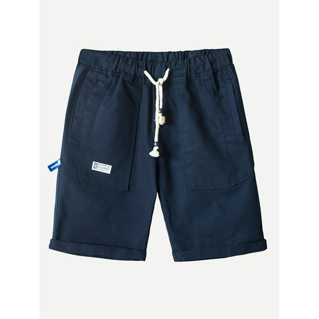 Men Rolled Hem Drawstring Shorts