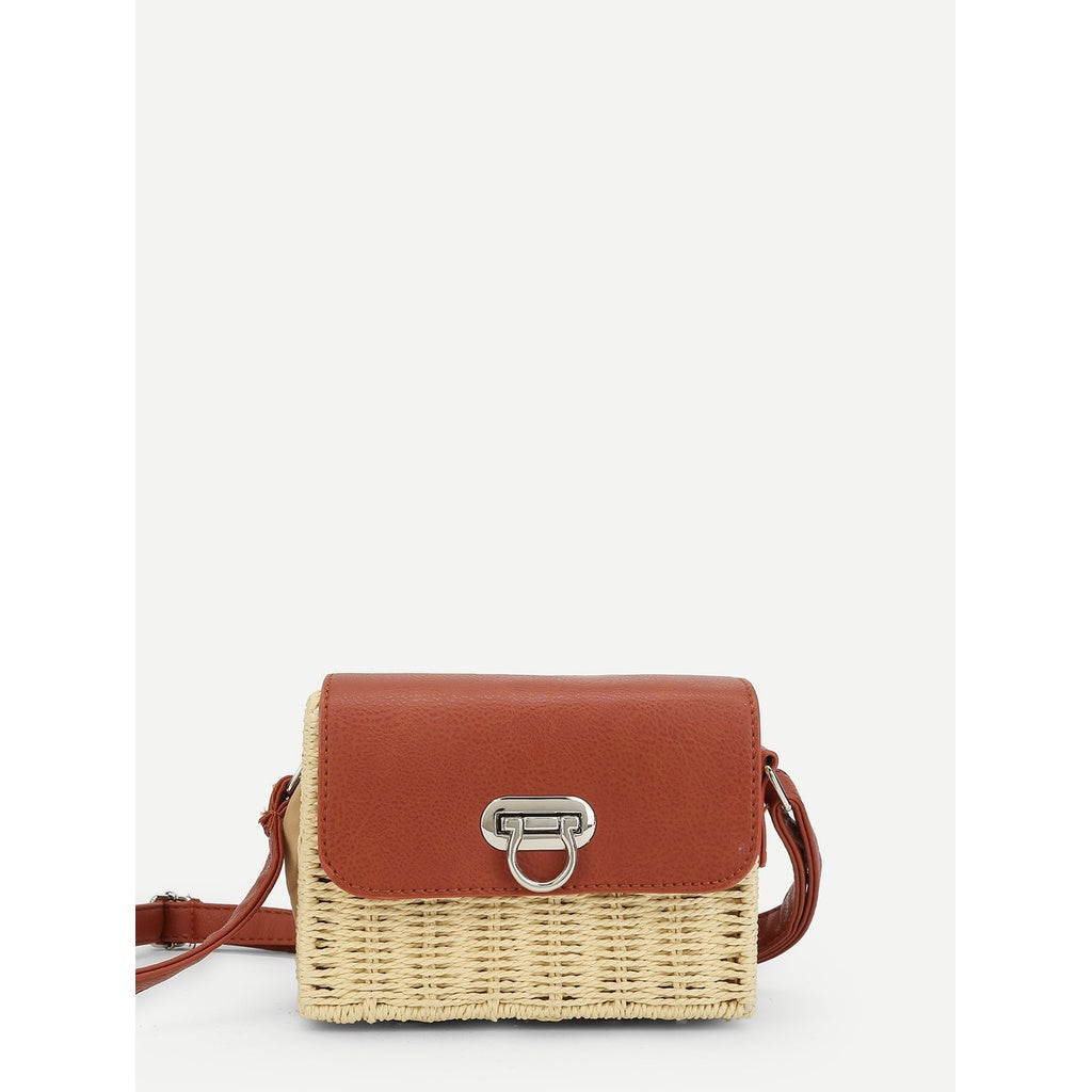 Two Tone Flap Straw Crossbody Bag