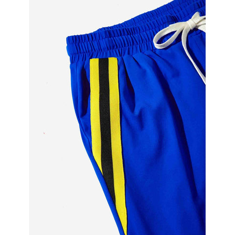 Men Striped Pocket Drawstring Waist Pants