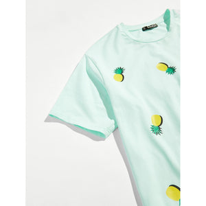 Men Allover Pineapple Print Front Tee