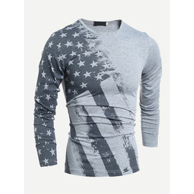 Men American Flags Print Tee