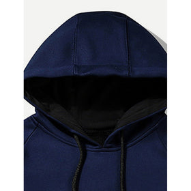 Men Zip Decoration Letter Print Hooded Sweatshirt