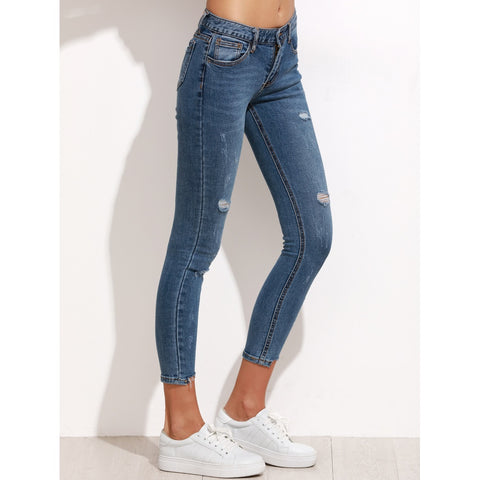 Ripped Step Hem Cropped Jeans