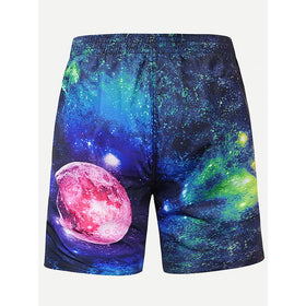 Men Galaxy Print Shorts