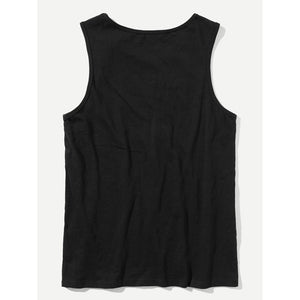 Men Letter Front Scoop Neck Tank Top