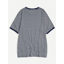 Men Letter Print Striped Ringer Tee