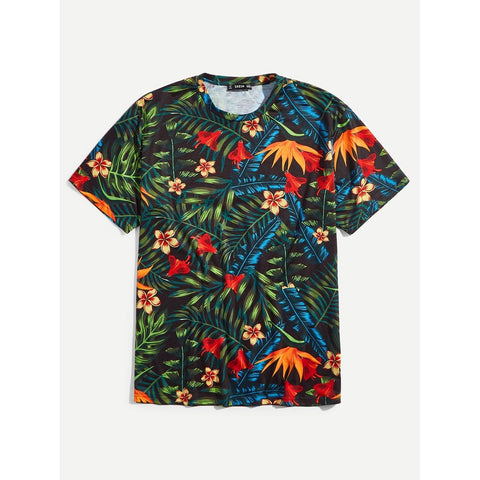 Men Jungle Leaf Print T-shirt