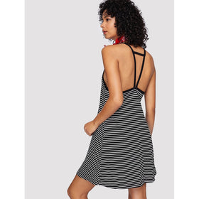 Cutout Strappy Racerback Striped Cami Dress
