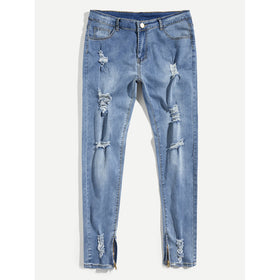 Men Zip Decoration Destroyed Skinny Denim Pants