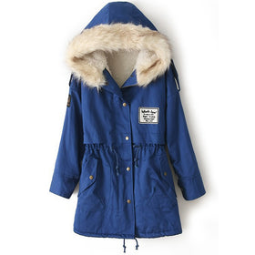 Fur Hooded Zipper Embellished Fleece Inside Military Coat