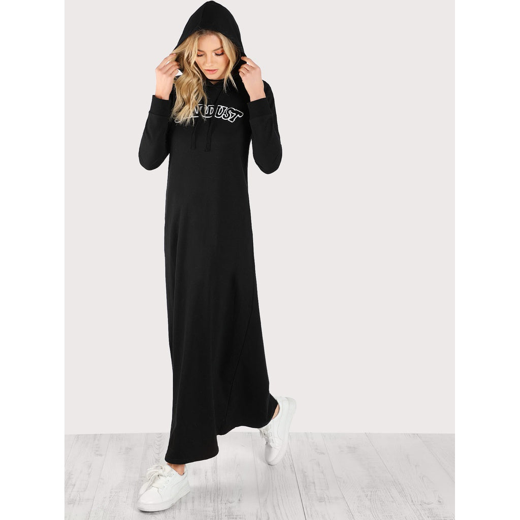 Embroidered Patch Detail Maxi Hoodie Dress