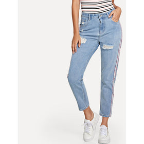 Striped Side Rip Detail Jeans