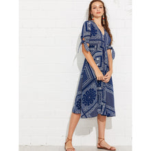 Patchwork Print Knot Cuff Shirred Waist Dress