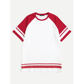 Men Striped Side Raglan Sleeve Tee