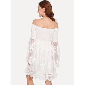 Off Shoulder Embroidered Mesh Dress