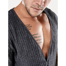 Men Deep V Neck Ribbed Tee