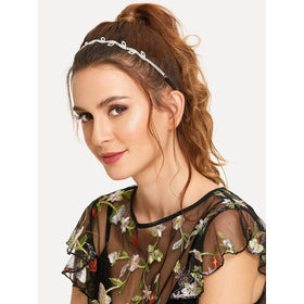 Rhinestone Detail Leaf Design Headband