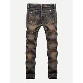 Men Brush Strokes Print Ripped Jeans