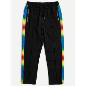 Men Waist Drawstring Zip Striped Pants